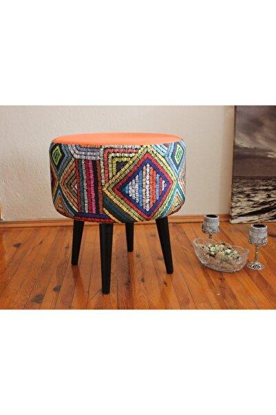 ALBATROS Gürgen Retro Ahşap Ayaklı Dekoratif Rustik Etnik Renkli Desenli Silindir Puf Bench Koltuk Sandalye