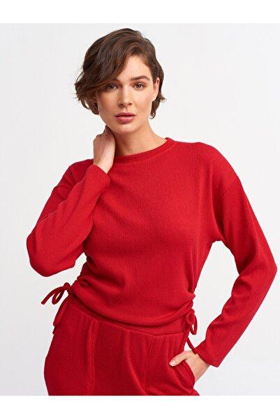 Dilvin 3615 Büzgülü T-shirt-kırmızı