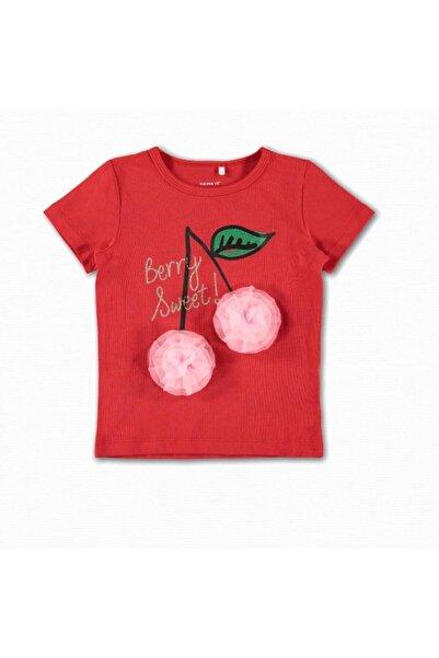 name ıt Kız Çocuk Kiraz Baskılı T-Shirt
