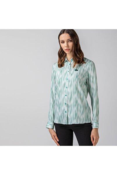 Lacoste Kadın Desenli Yeşil Gömlek CF0121