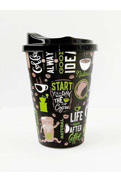 HOBBY LİFE Kahve Bardağı 450 ml Siyah Desenli