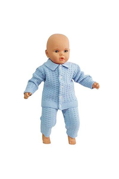 bebegen Yakalı Mavi Triko 2 Li Bebek Takım
