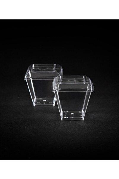 Kristal Plastik Akrilik Prizma Kübik Kase 120cc 24 Adet - Kapaklı