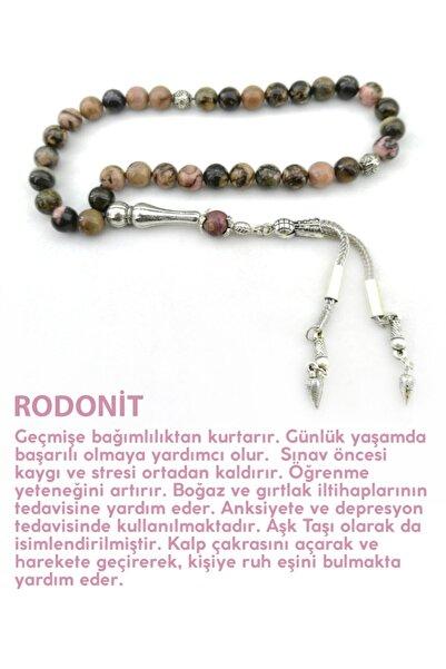 OSMANLI DOĞAL TAŞ Rodonit Doğal Taş Tesbih Metal Aksamlı
