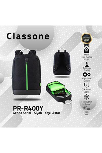 Classone Genoa Pr-r400y 15.6 Inç Laptop, Notebook Sırt Çanta-siyah-yeşil Astar