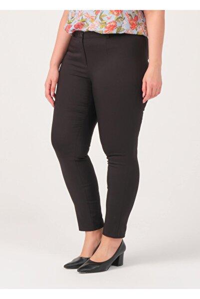 Adze Kadın Siyah Klasik Kesim Dar Paça Pantalon Siyah 48