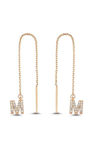 Bulvardi Rose Rengi Taşlı Harfli Gümüş Küpe - M Harfi - Standart