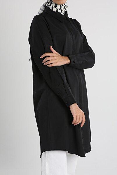 ALLDAY Siyah Büyük Beden Basıc Gömlek Tunik
