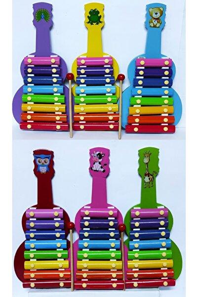 Brother Toys 8 Notalı Kutulu Ahşap Ksilofon Büyük Boy Gitar Modeli