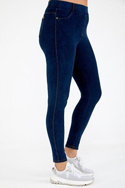 Siyezen Büyük Beden Lacivert Jean Görünümlü Tayt Pantolon