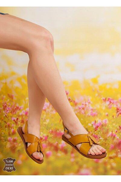derithy Kadın Sarı Hakiki Deri Sandalet