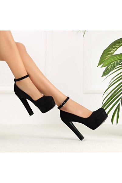 Ayakkabı Delisiyim Guinas Süet Siyah Burnu Kapalı Topuklu Ayakkabı