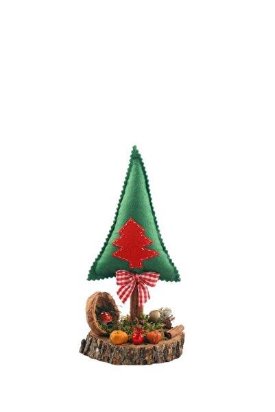 ÇIRPAN EV Yeşil Kırmızı Çam Ağacı Kütük Dekor 25cm