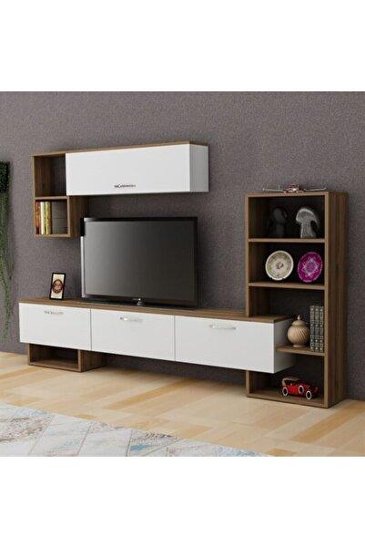 BMdekor Tv Ünitesi Mega Beyaz Ceviz 209 Cm