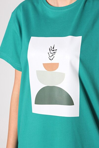ALLDAY Zümrüt Baskılı Kısa Kol T-shirt