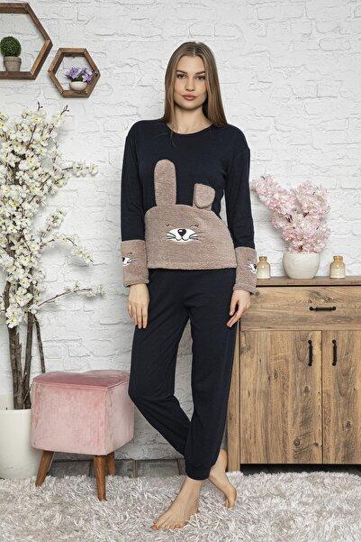 FAWN Kadın Uzun Kollu Ön Ve Kol Kedi Nakışlı Bisiklet Yaka Pijama Takımı Siyah Homewear Ev Kıyafeti