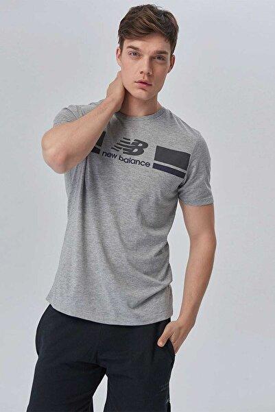 New Balance Unisex Gri T-Shirt  V-MTT904-AG