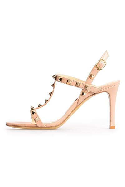 Flower Kadın Bej Deri Tropk Detaylı Klasik Topuklu Ayakkabı
