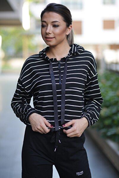 ZİNDİ Kadın Kapüşonlu Beli Büzgülü Çizgili Sweatshirt Siyah/beyaz Çizgili