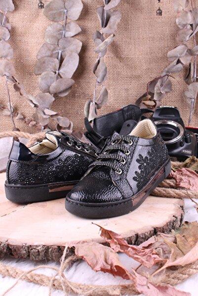 Akıllı Şirin Taş Işlemeli Bağcıklı Fermuarlı Kız Çocuk Vans Ayakkabı Siyah