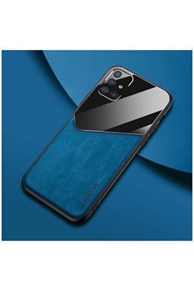 Dara Aksesuar Samsung Galaxy A71 Kılıf Zebana New Fashion Deri Kılıf Mavi