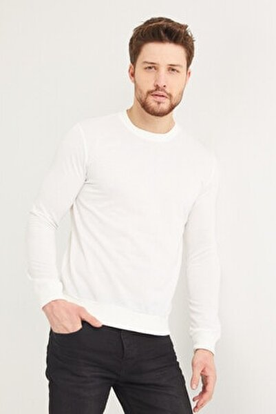 Pamuklu Bisiklet Yaka Beyaz Sweatshirt