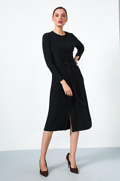 Gusto Beli Kuşaklı Elbise - Siyah