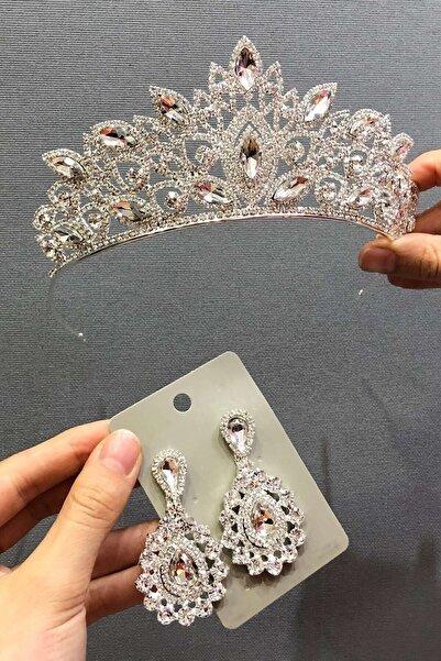 Hayalperest boncuk Gümüş Kristal Cam Taşlı Gelin Tacı Ve Küpe Takımı
