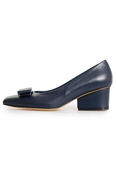 Flower Kadın Lacivert Deri Fiyonk Detaylı Topuklu Ayakkabı