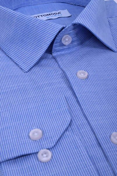 Ottomoda Beyaz Mavi Çizgili Uzun Kollu Cepli Erkek Klasik Gömlek