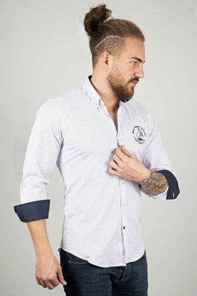 DeepSEA Lacivert Erkek Önü Armalı Gömlek 2005158