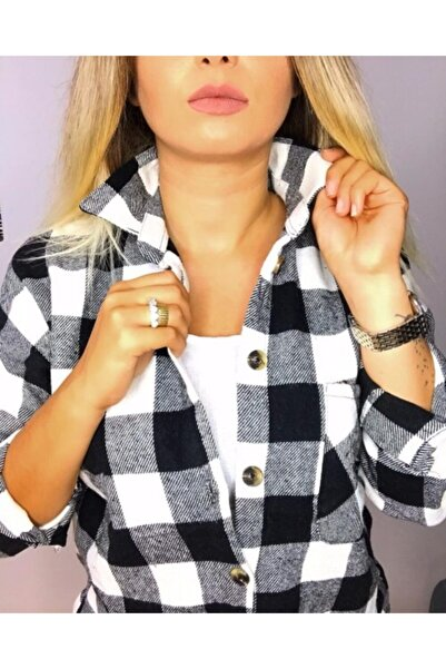 N'on women Siyah Oduncu Ekose Ceket Gömlek