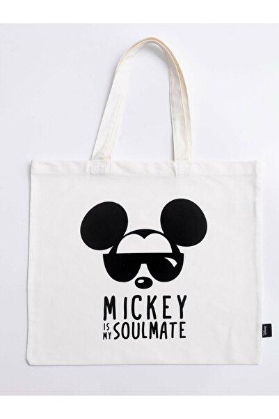 LC Waikiki Mickey Mouse Erkek Krem Bej Dee Omuz Çantası