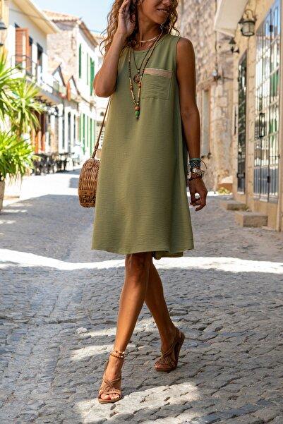 Güneşkızı Kadın Haki Cebi Hasır Detaylı A Kesim Airobin Elbise Gk-bstkby1