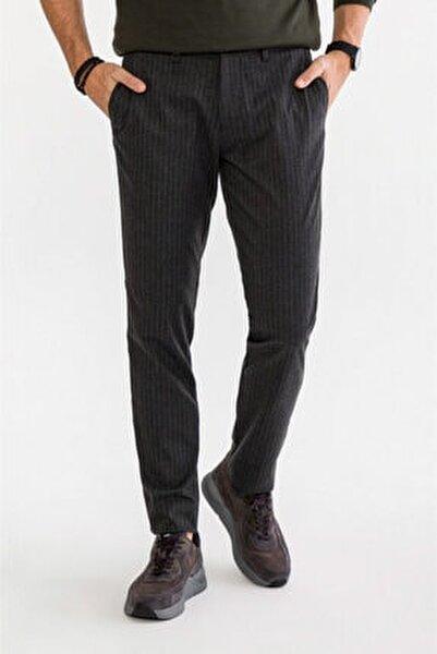 Erkek Antrasit Yandan Cepli Çizgili Slim Fit Kumaş Pantolon A92y3012