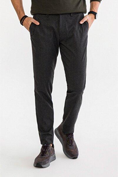 Avva Erkek Antrasit Yandan Cepli Çizgili Slim Fit Kumaş Pantolon A92y3012