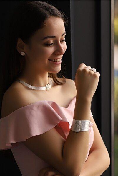 VVL Gümüş Trabzon Hasırı 15 Sıra Bilezik 5 Sıra Gerdanlık Prenses Set
