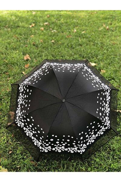 Rainwalker Rüzgarda Kırılmayan Kenarı Tüllü Papatya Desenli Siyah Kadın Şemsiye