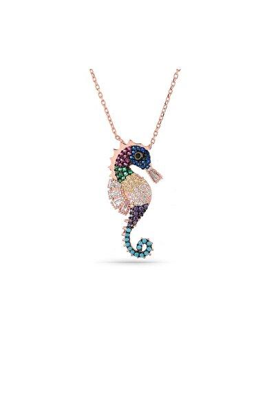 MySilvers Renkli Taşlı Deniz Atı Kolye Kadın Rose Zirkon