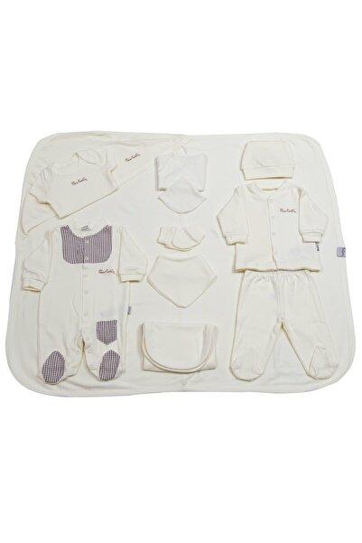 Pierre Cardin Baby Pierre Cardin Bebek Giyim 10'lu Hastane Çıkış Seti Ekoseli Ekru