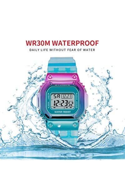 WatchArt Renkli Spor Led Işıklı Kadın Kol Saati - Alarmlı Moda Spor Kadın Dijital Kol Saati