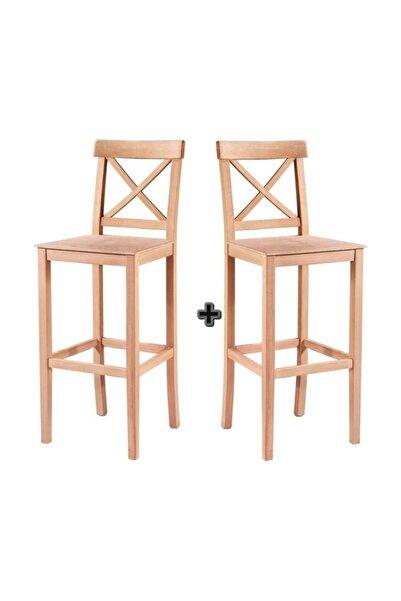 Masif Art Masifart Dens Çapraz Izgaralı Bar Sandalye 2 Li Ham Ahşap 4635