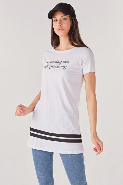 Fulla Moda Yazı Baskılı Uzun Tshirt