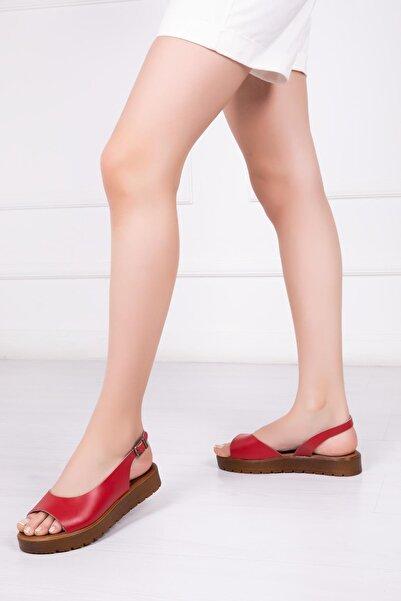 Deripabuc Hakiki Deri Kırmızı Kadın Deri Sandalet Dp-0094