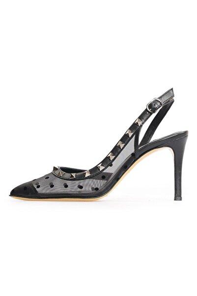 Flower Siyah Deri File Detaylı Troklu Kadın Ayakkabı