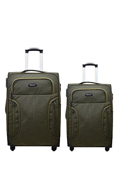 Anka 2'li Valiz Seti Travel Polo Krinkıl Kumaş Orta Boy Ve Kabin Boy Yeşil 2'li Set