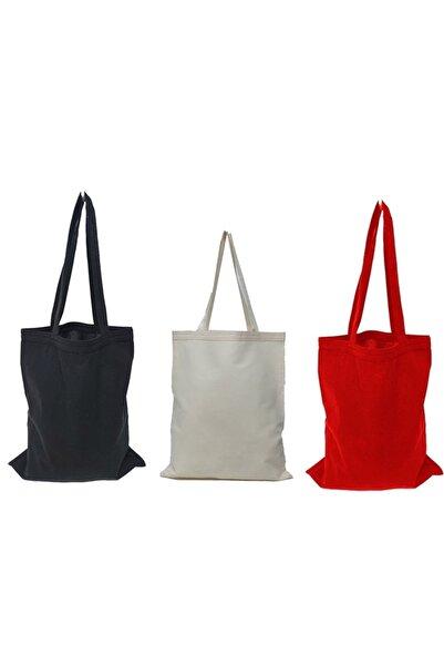 serkan çanta Baskısız Bez Çanta 35x40 Kulplu 3 Adet (1 Naturel, 1 Siyah, 1 Kırmızı)