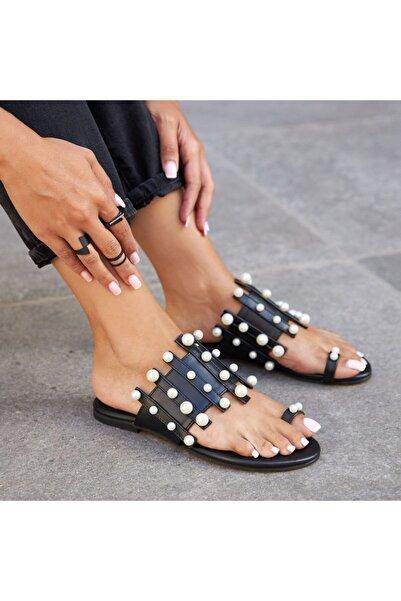 Ayakkabı Delisiyim Laylas Parmak Arası Incili Siyah Terlik