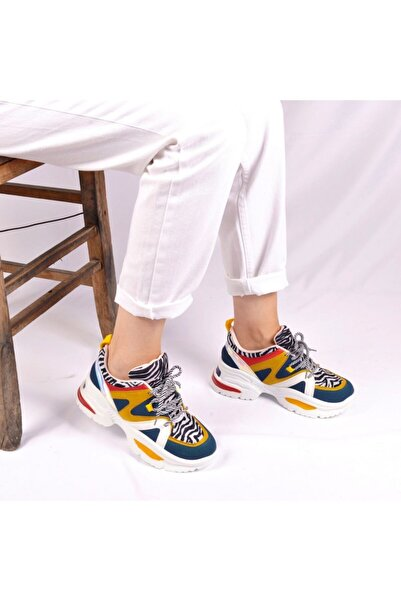 Flet Leopar Desenli Kadın Sneaker