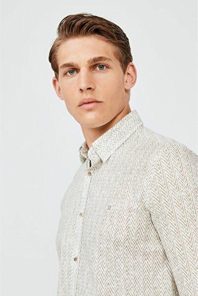 Avva Erkek Haki Baskılı Alttan Britli Yaka Slim Fit Gömlek A02y2168